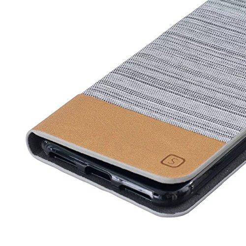 JIALUN-carcasa de telefono caso del iPhone 7, caja de la serie de lona de color mezclado Caso de cuero de la PU de la prima caso del soporte de la monedero caso del soporte del tirón de la protección  2