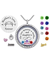 Family Tree of Life Floating Charm Living Memory Lockets,Magnetic Closure 30mm Stainless Steel Necklace