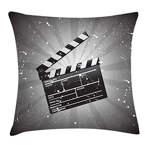 Queen Area Movie Theater Clapper Board on Retro Backdrop with Grunge Effect Director Cut Scene Square Throw Pillow Covers Cushion Case for Sofa Bedroom Car 18x18 Inch, Grey Black (New Kids Directors Chair)