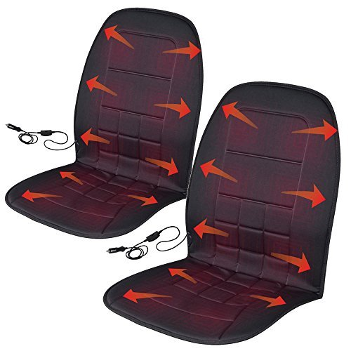 BDK Travel Warmer Pair - 2 Heated Seat Cushions Covers 12-Volt Padded Thermal Release