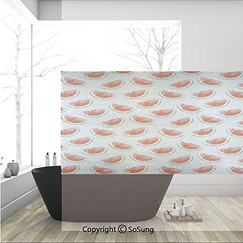 3D Decorative Privacy Window Films,Watercolor Fresh Watermelons Yummy Summer Food Harvest Paintbrush Display,No-Glue Self Static Cling Glass Film for Home Bedroom Bathroom Kitchen Office 36x24 Inch]()