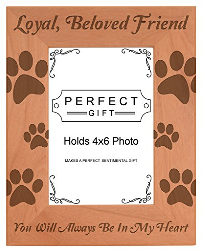 Memorial Portrait - Pet Memorial Gift Remembrance of Dog or Cat Natural Wood Engraved 4x6 Portrait Picture Frame Wood