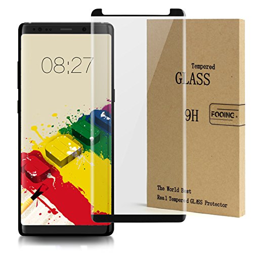 FOOING z012 92716 Screen Protector Tempered Glass Full Coverage 3D Curved Crystal Case Friendly Bubble-Free Anti-Scratch for Samsung Galaxy Note 8 – Black (2017)