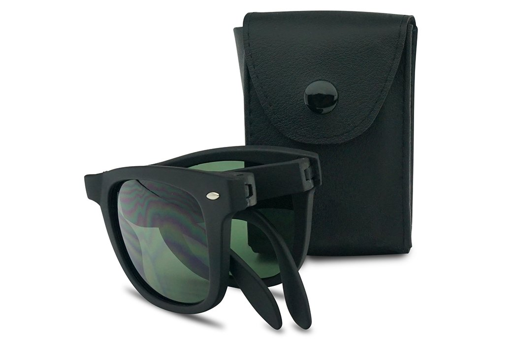 Stylish 1980's style Black Folding Sunglasses Open Fold Old School Frame Free Black Case (Matte Black | Green Lens) by SunglassUP