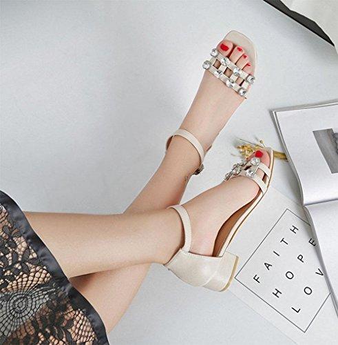 áspero hueco con zapatos de hebilla de diamantes de imitación zapatos casuales de palabras A