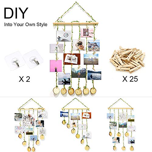 ZALALOVA Hanging Photo Display, DIY Pictures Organizer with 25Pcs Wooden Clips 2 Hooks and Adjustable Hemp Rope Home Party Decor Photo Frame for Hanging Photos Artwork -
