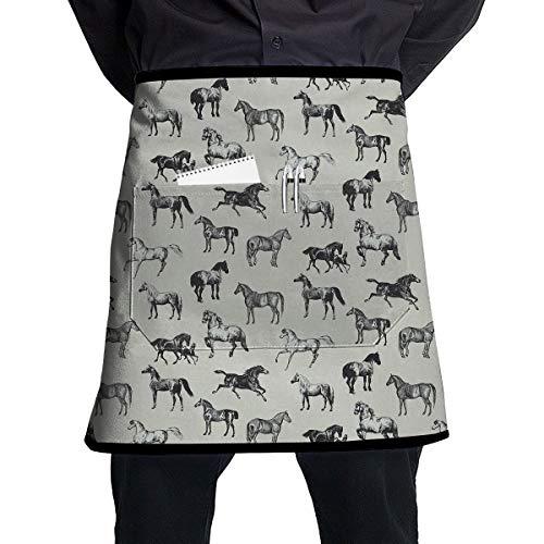 - Jaylon Pocket Half Length Short Waist Apron Horse Watercolor Black Cooking Apron with Pockets Home Kitchen Cooking Pinafore