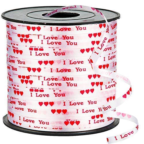 I Love You Curling Ribbon – 100 Yard | Valentines Day Decorations for Home, Outdoor, Office, Window, Classroom | Perfect for Balloons, Gift Wrap, Birthday Party Supplies, Crafts DIY