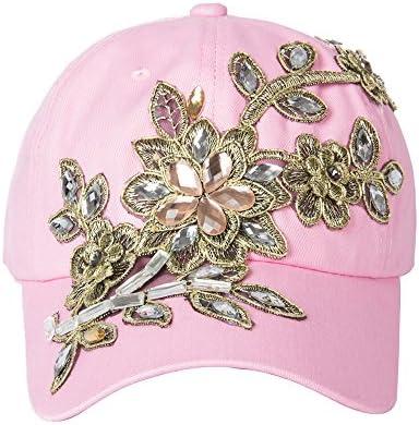 b6a00ab136a Elonmo Cute Big Flowers Womens Baseball Cap Jewel Rhinestone Bling Hats  Jeans Wash Denim Adjustable Valentine s Day Gift