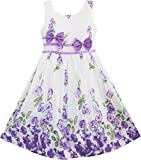 #10: Sunny Fashion Girls Dress Rose Flower Double Bow Tie Party Sundress