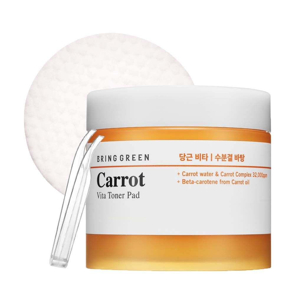 BRING GREEN Carrot Vita Toner Pad 60ea - Vitamin C & Carrot Skin Brightening Facial Peeling Pads, Skin Soothing & Boosting Effect, Removes Dead Skin Cells and Red Spots, Acne Relief