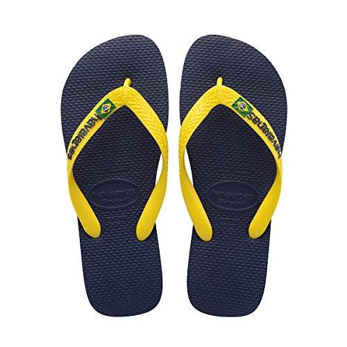 Havaianas Men's Brazil Logo,Sandal Navy Blue/Citrus Yellow,45/46 BR
