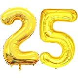 GOER 42 Inch Gold Number 25 Balloon,Jumbo Foil Helium Balloons for 25th Birthday Party Decorations and 25th Anniversary Event