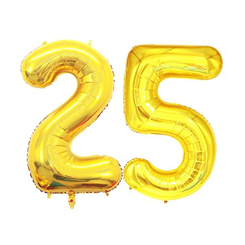 (GOER 42 Inch Gold Number 25 Balloon,Jumbo Foil Helium Balloons for 25th Birthday Party Decorations and 25th Anniversary)