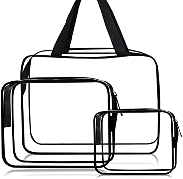 Cosmetic Bag 3 Pack Clear Travel Toiletry Bag Set with Zipper Make-up Pouch Handle Straps   Waterproof Packing Organizer Storage Diaper Pencil Bags (Black)
