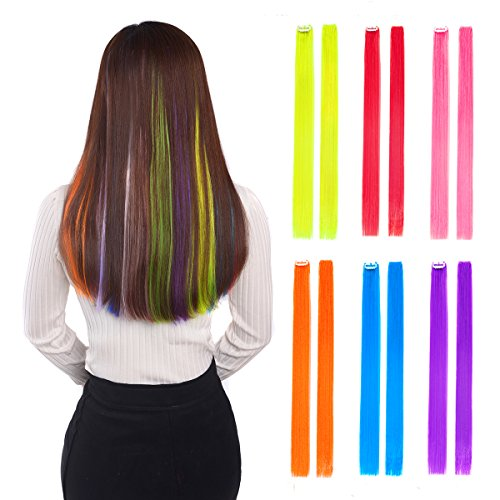 "12 pcs Colored Hair Extensions 22"" Clip in Straight Hairpieces Highlights for Women Six Colors 2 pcs/color"