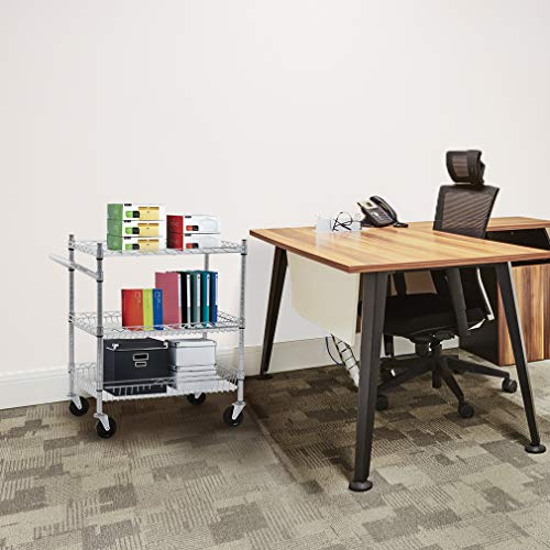 Heavy Duty Utility Cart Wire 3 Tier Rolling Cart Organizer NSFKitchenCart on Wheels Metal Serving Cart Commercial Grade with Wire Shelving Liners and Handle Bar for Kitchen Office Hardware,Chrome by FDW (Image #2)