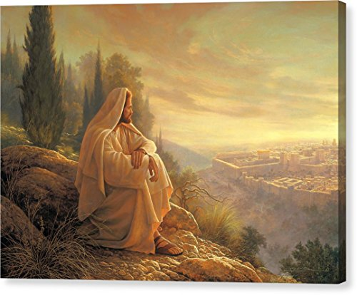 ''O Jerusalem'' by Greg Olsen, Canvas Print Wall Art, 20'' x 14.25'', Mirrored Gallery Wrap, Glossy Finish by Pixels