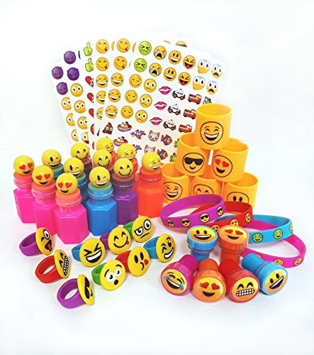 72 Piece Emoji Party Pack Party Supplies Party Favor Assortment: Emoji Bracelets, Emoji Bubbles, Emoji Rings, Emoji Stickers, Emoji Stamps, Emoji Coils