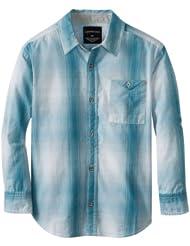$12.5 ,开尔文Calvin Klein Boys Ombre Plaid  8-20 岁男孩全棉长袖衬衫