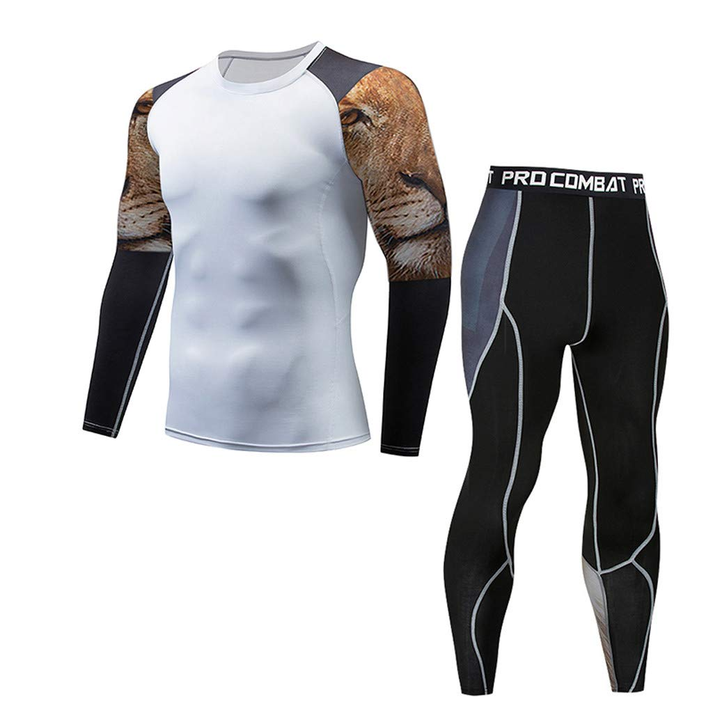 Men's Long Sleeve Compression Shirt,Mlide Casual Fitness T-shirt Fast Drying Elastic Tops Pants Athletic Sports Suit,White B3XL