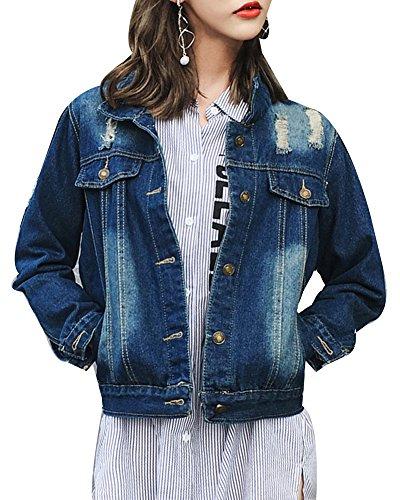 Mujer Fit Larga Jacket Vaquera Mezclilla Boyfriend Slim Manga Denim Chaquetas De Casual Corto Azul Cazadora P4Tp1rxqPn
