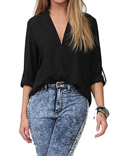 Benibos Women's Spicy Girl Solid V-neck Loose Chiffon Shirt Blouse (Label size XXL (US:L), Black)