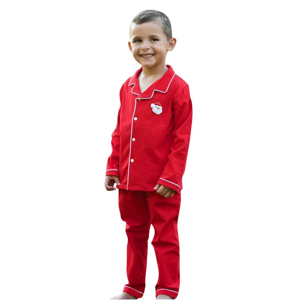 GorNorriss Baby Boys Girls Christmas Santa Red Pajamas Outfits Nightwear Sleepwear Sets by GorNorriss