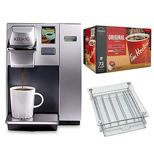 Keurig K155 Office Pro Commercial Single Serve K-Cup Pod Coffee Maker (Silver) Bundle with 72 K-Cups and K-Cup Holder (3 Items)
