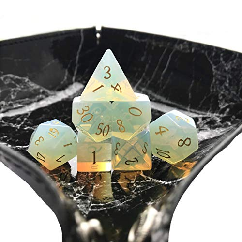 Truewon Stone Dice , Set of 7 Handmade Dice for RPG ,DND Made by Natural Gemstones. (Opal A)