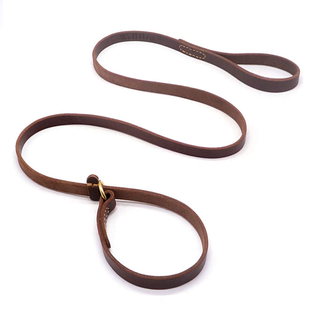 "Wellbro Real Leather Slip Lead Dog Leash, Adjustable Stitched Pet Slip Leads with Slider, Heavy Duty Flat Dog Training Leashes for Medium and Large Dogs, 5ft Long by 0.7"" Wide, Brown"