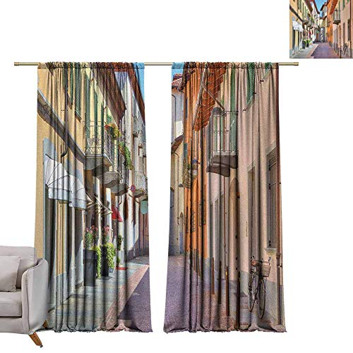 Blackout Curtains City,Town of Alba Piedmont Northern Italy Narrow Stone Paved Street Among Colorful Houses, Multicolor W96 x L84 Grommet Window Drapes (Weave Stone Vinyl Burlap)
