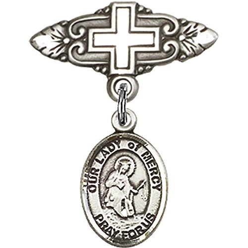 Sterling Silver Baby Badge with Our Lady of Mercy Charm and Badge Pin with Cross 1 X 3/4 inches by Unknown