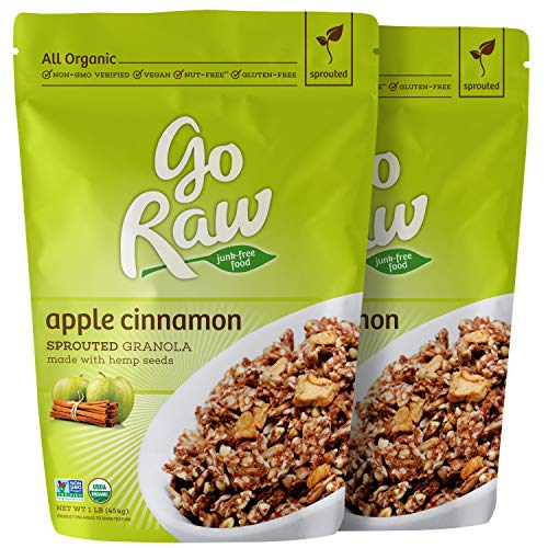 Go Raw Organic Sprouted Superfood Granola, Apple Cinnamon (pack of 2 x 16-ounce bags) -