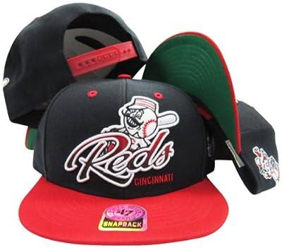 Cincinnati Reds Black Two Tone Plastic Snapback Adjustable Plastic Snap Back Hat / Cap