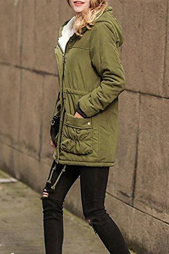 La Mujer Casual De Manga Larga Con Capucha Cremallera Frontal Abierto Invierno Chaqueta Outwear Abrigo Acolchado Cálido Green