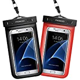 Universal Waterproof Case [2-Pack], MoKo CellPhone Dry Bag Pouch with Armband & Strap for iPhone X/8 Plus/8/7/6s Plus, Galaxy Note 8/S8/S8+, LG, BLU & More - BLACK + RED