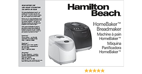 Hamilton Beach Bread Machine Manual (Model: 29882) Reprint: Amazon.com: Books