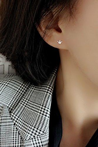 KENHOI Beauty cute mini crown s925 silver stud earrings earings dangler eardrop pierced accessories ear rods support students hypoallergenic silver