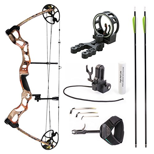 Leader Accessories Compound Bow Hunting Bow 50-70lbs with Max Speed 310fps (Autumn Camo With Kit) (Diamond Youth Bows)