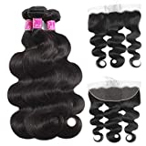 Celie Brazilian Human Hair Body Wave 3 bundles with 13×4 Lace Closure 9A Virgin Human Hair Natural Color(20 20 20+18 Frontal)