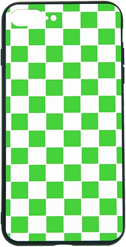 Vanqiang - Carcasa para iPhone (rígida, diseño de cuadros, color marrón, plástico, Verde y blanco., iPhone XS