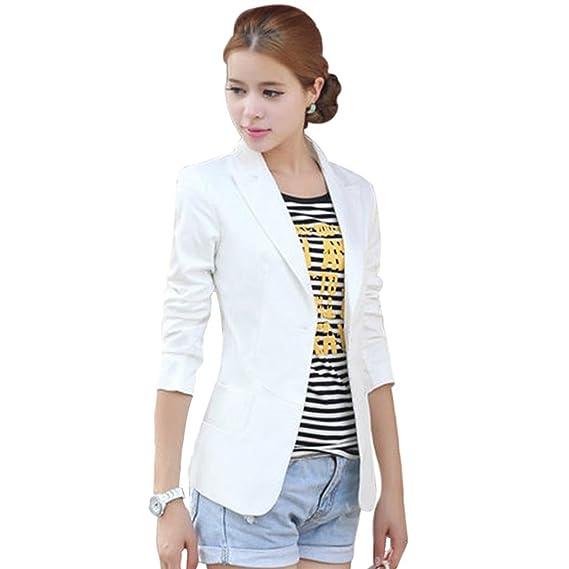 9e6645a3a540 cooshional Femme Veste de Tailleur Blazers Slim Manches Longues Gilet Hauts  Costume Pour Col Blanc