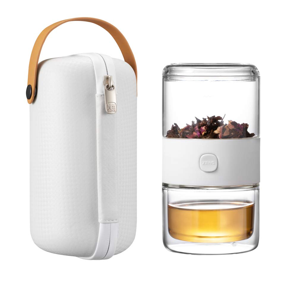 ZENS Travel Tea Set, Glass Portable Tea pot Infuser Kung Fu Set for One with 200ml Double Wall Tea Cup and Case for Loose Tea,Travel or Office,White