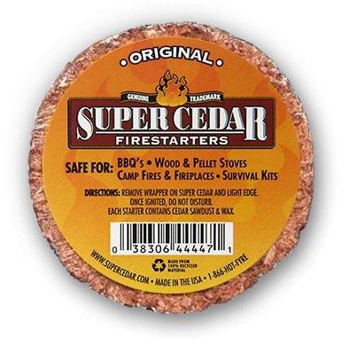 Super Cedar Firestarters - 36-Pack inizia fino a 144 incendi. Accendifuoco bruciano più pulito, più caldo e durano fino a 30 minuti, accensione con singolo fiammifero, progettazione ecocompatibile 36Ct