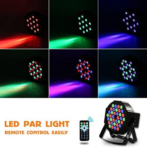 DJ Lights Missyee 36 X 1W RGB LEDs DJ LED Uplighting Package Sound Activated Stage Par Lights with