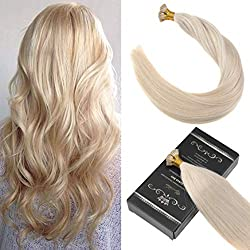 "Ugeat 22"" I Tip Human Hair Extensions #613 Blench Blonde 7A Grade 100% Real Remy Fusion Hair Extensions I Tip 40g"