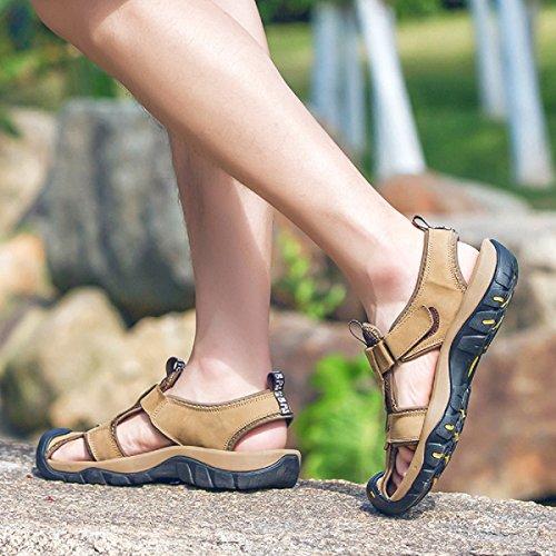 Deportivas Cuero Toe Sneakers Verano Velcro Trekking Zapatos para Caqui Zapatillas Closed Casual 39 46 Hombre Sandalias Senderismo qqrnwpOEU