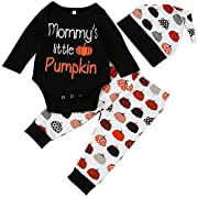 Babibeauty Cute Infant Baby Girl Boy 3PC Halloween Clothes Long Sleeve Pumpkin Romper with Hat and Pants Outfits Set (0-3 Months, Black & white & orange)