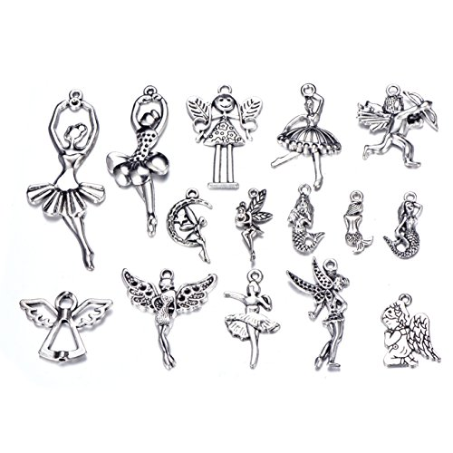 30pcs Antique Silver Alloy Mix Dancing Girl Angel Mermaid Charm Pendant for DIY Jewelry Making (Dancing Angel Charm)